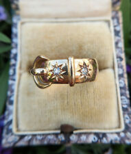 Antique 18ct Yellow Gold & Diamond Buckle Ring Band 1915