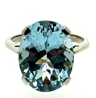 Huge Aquamarine Solitaire Ring 9 Carat White Gold 7.90cts size N 1/2 4.72 Grams