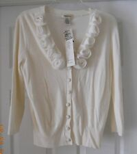 HOLIDAY EASTER SWEATER LINDA LUCIA CREAM SWEATER W/ DECORATIVE NECK LINE ~ SZ M