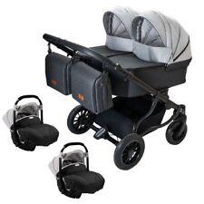 Adbor Duo Lux 3in1 Zwillingskinderwagen mit Babyschalen, Zwillingswagen, Zwillin