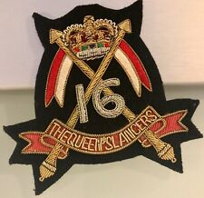 16th The Queens's Lancers  hand-embroidered badge handgestickt