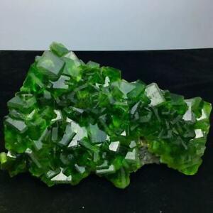 7900g Transparent Bright Green Cubes Fluorite Crystal Cluster Mineral Specimen