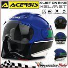 NEUF CASQUE JET ACERBIS X-JET ON BIKE BLUE/VERT MOTO SCOOTER XL 61-62