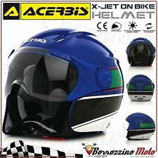 NEUF CASQUE JET ACERBIS X-JET ON BIKE BLUE/VERT MOTO SCOOTER XL 61-62