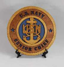 "US Navy Senior Chief E8 Laser Engraved  Desktop Plaque - 7-1/2"" diameter"