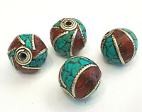 Ethnic Tibetan Nepalese Collectable Huge Turquoise And Coral 4 Beads Designed