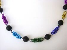 multicoloured  Byzantine chain maille necklace with Matte black onyx rounds