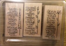 Stampin' Up! 3 Wooden Mounted Rubber Stamps Stamping Sidekick Sayings Quotes