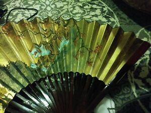 """NEW Oriental Asian Painted Paper Wall Fan Bengal TIGER SIGNED 34"""" expands 54"""""""