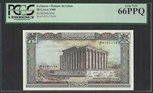Lebanon 50 Lira 1988 P65d Uncirculated Grade 66