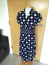 Ladies ILE NEW YORK Dress Size 10 Navy White Stretch Smart Casual Day Party