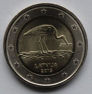 LATVIA - 2 € Euro commemorative coin 2015 - Stork uncirculated coin from roll