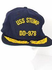 545c4f3695d USS Stump DD-978 US Navy Blue Ball Cap Hat Leaves Snapback Medium-Large