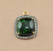 925 Silver Sterling Diamond Greengold Gemstone Designed Pendant Necklace Jewelry