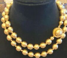 Vintage Karl Lagerfeld Faux Golden Pearl 38 IN Necklace