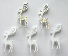 Elegant Reindeer / White & Silver Glitter Shank Buttons / Dress It Up Holiday