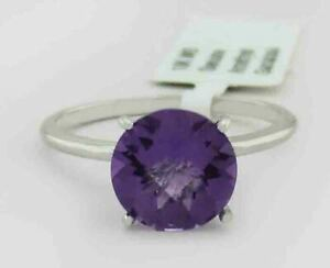 GENUINE 2.58 Cts AMETHYST RING 10K WHITE GOLD *** Free Certificate Appraisal ***