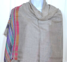Handwoven Pashmina Cashmere Wool Taupe Shawl with diamond pattern from India!