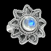 Bali Design - Rainbow Moonstone 925 Sterling Silver Ring Jewelry s.9 RR200713