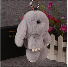 Cute Bunny Rex Rabbit Fur Phone Car Pendant Handbag Girl Key Chain Ring Pom 14cm