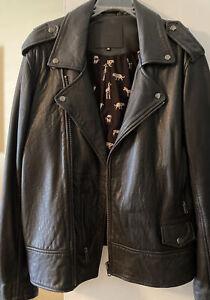 All Saints Black Leather Jacket Milo Unisex M Brand New