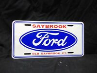 vintage Plastic Ford Old Saybrook, Connecticut license Plate red white blue 12""