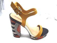 Aldo Zig Zag 40 9M brown black orange platforms womens ladies shoes heels pumps