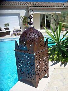 Lanterne Marocaine lampe bougeoir photophore bougie applique lustre 80 cm