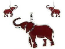 Red Elephant Pendant With Matching Dangling Earrings