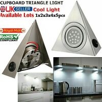 1/2/3/5x Kitchen Mains LED Under Cabinet Cupboard Triangle Light Kit Cool White