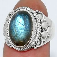 Blue Labradorite - Madagascar 925 Sterling Silver Ring s.6.5 Jewelry 9493