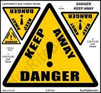 6 Inch, Danger Keep Away, Hazard Warning Decals Stickers. 4 Count, 3 Sizes.