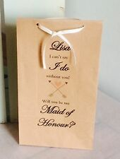 Personalised Will You Be My Bridesmaid Wedding Gift Bags/Maid Honour Flower Girl