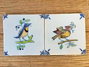 "Vintage Delft Polychrome Light Blue Colorful Bird Tiles 5"" Bluebird & Red Bird"