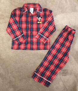 The Disney Store Kids Holiday Pajamas 2 Piece Set Flannel Mickey Christmas 2T