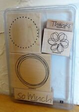 2007 Stampin Up SO MUCH 5 pc RUBBER INK STAMP SET Large Circle Tag Labels Thanks