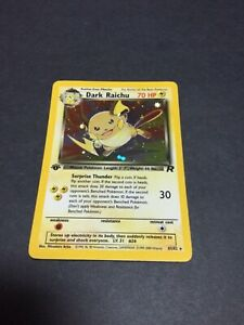 DARK RAICHU 1st Edition Team Rocket  Holo  83/82 Secret Rare Pokemon Card ⭐ NM