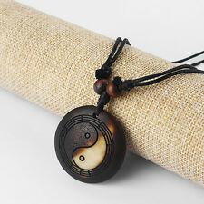 Chi Yin Ying Yang Round Pendant Necklace Lot 12pcs Dark Brown Faux Yak Bone Tai