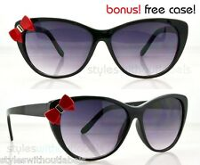 New Ladies Womens Girl Hello Kitty Style Black Frame Cat Eye Sunglasses Bow Tie!