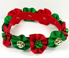 Dog Cat Pet Christmas Bell Neck Collar 100% Handmade Elastic Band Collar Green