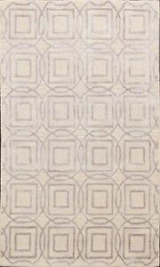 Hand-tufted Wool/ Silk Multi Round/ Square Beige/ Silver Oriental Area Rug 4'x6'