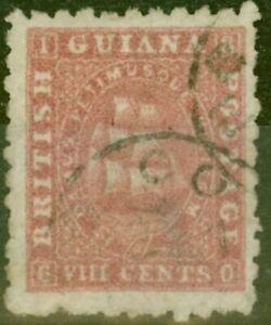 British Guiana 1871 8c Carmine SG96a Perf 10 Good Used Ex- Fred Small