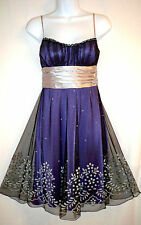 Teeze Me Purple Black Tulle Sweetheart Sequin Prom Dance Party Cocktail Dress S