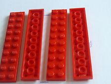 Lego 4 plates rouges set 7823 8671 7985 / 4 red plates