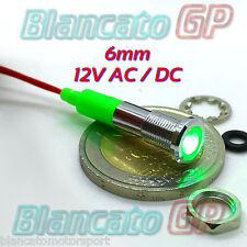 SPIA LED VERDE 12V DC METALLO FLAT 6mm IP67 auto moto camper nautica segnalatore
