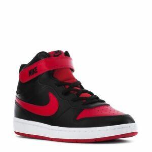 Scarpe bambino Nike Court Borough mid 2 nero rosso basket modello jordan strappo