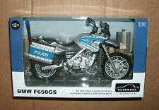 1/12 Scale BMW F650GS Polizei Motorcycle Model - Police Bike - Automaxx 600404PO