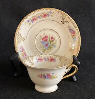 Vintage Rosenthal Ivory Floranada Demitasse Cup and Saucer Set Flowers Gold Lace