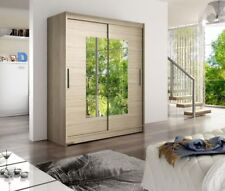 New Modern Wardrobe WENDY 3 With Mirror Sliding Doors Hanging Rail Shelves 150