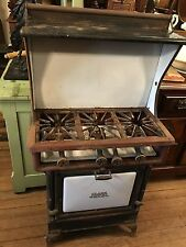Small DETROIT JEWEL ANTIQUE GAS STOVE 1907-1918 With Upper Shelf Nice Old